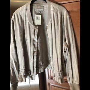 Lucky brand zip jacket light khaki size large